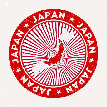 Japan round stamp. design of country with flag. Vintage badge with circular text and stars, vector illustration.