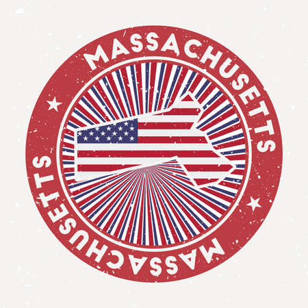 Massachusetts round stamp. design of us state with flag. Vintage badge with circular text and stars, vector illustration. Ilustracja
