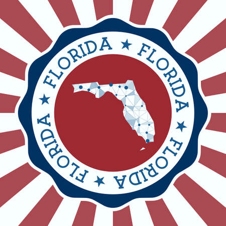 Florida Badge. Round design of us state with triangular mesh map and radial rays.