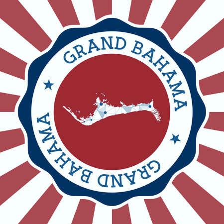 Grand Bahama Badge. Round design of island with triangular mesh map and radial rays.
