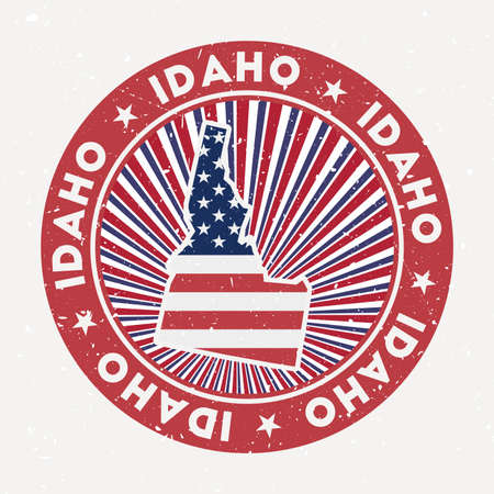 Idaho round stamp. design of us state with flag. Vintage badge with circular text and stars, vector illustration.