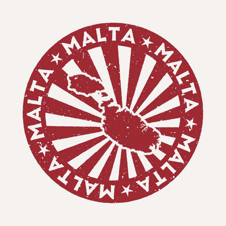 Malta stamp. Travel red rubber stamp with the map of island, vector illustration. Can be used as insignia, logotype, label, sticker or badge of the Malta. Ilustracja