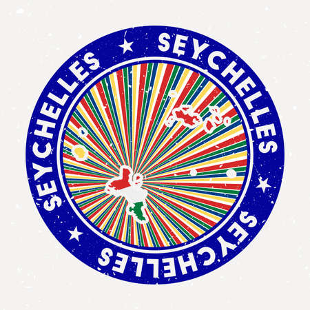 Seychelles round stamp. design of island with flag. Vintage badge with circular text and stars, vector illustration. Ilustracja
