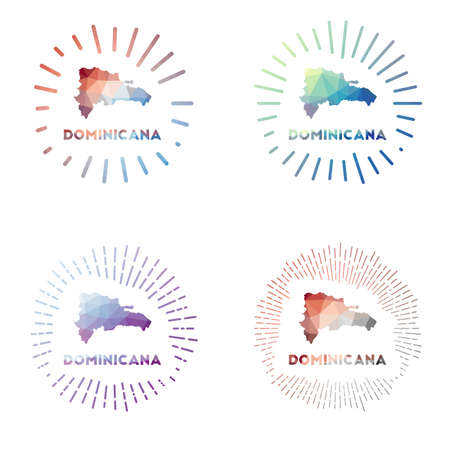 Dominicana low poly sunburst set. design of country in geometric polygonal style. Vector illustration.