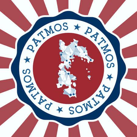 Patmos Badge. Round design of island with triangular mesh map and radial rays. Ilustracja