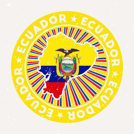 Ecuador round stamp. design of country with flag. Vintage badge with circular text and stars, vector illustration.
