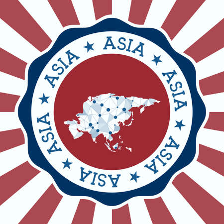 Asia Badge. Round design of continent with triangular mesh map and radial rays.