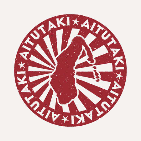 Aitutaki stamp. Travel red rubber stamp with the map of island, vector illustration. Can be used as insignia, logotype, label, sticker or badge of the Aitutaki.