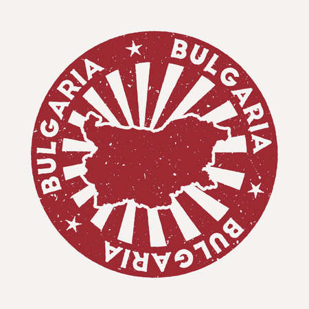 Bulgaria stamp. Travel red rubber stamp with the map of country, vector illustration. Can be used as insignia, logotype, label, sticker or badge of the Bulgaria.