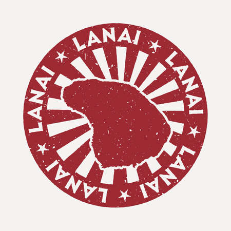Lanai stamp. Travel red rubber stamp with the map of island, vector illustration. Can be used as insignia, logotype, label, sticker or badge of the Lanai.