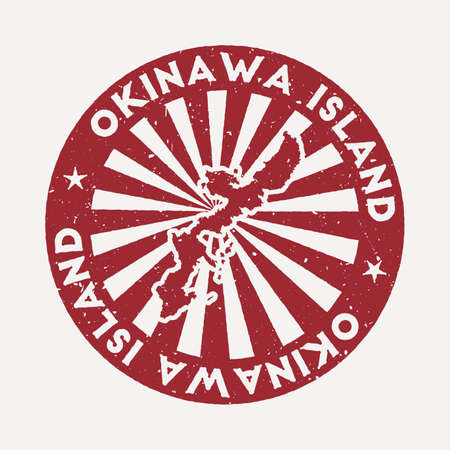 Okinawa Island stamp. Travel red rubber stamp with border shape, vector illustration. Can be used as insignia, logotype, label, sticker or badge of the Okinawa Island.