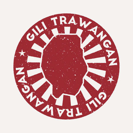 Gili Trawangan stamp. Travel red rubber stamp with the map of island, vector illustration. Can be used as insignia, logotype, label, sticker or badge of the Gili Trawangan.