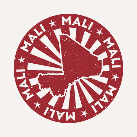 Mali stamp. Travel red rubber stamp with the map of country, vector illustration. Can be used as insignia, logotype, label, sticker or badge of the Mali. Ilustracja