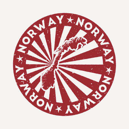 Norway stamp. Travel red rubber stamp with the map of country, vector illustration. Can be used as insignia, logotype, label, sticker or badge of the Norway. Ilustracja