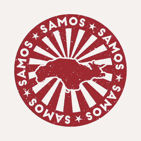 Samos stamp. Travel red rubber stamp with the map of island, vector illustration. Can be used as insignia, logotype, label, sticker or badge of the Samos.
