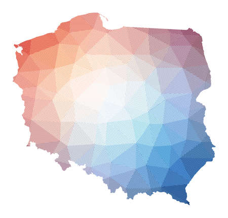 Map of Poland. Low poly illustration of the country. Geometric design with stripes. Technology, internet, network concept. Vector illustration.