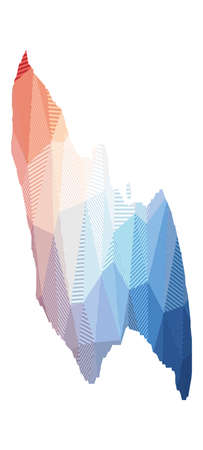 Map of Saona Island. Low poly illustration of the island. Geometric design with stripes. Technology, internet, network concept. Vector illustration.