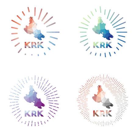 Krk low poly sunburst set. Logo of island in geometric polygonal style. Vector illustration.