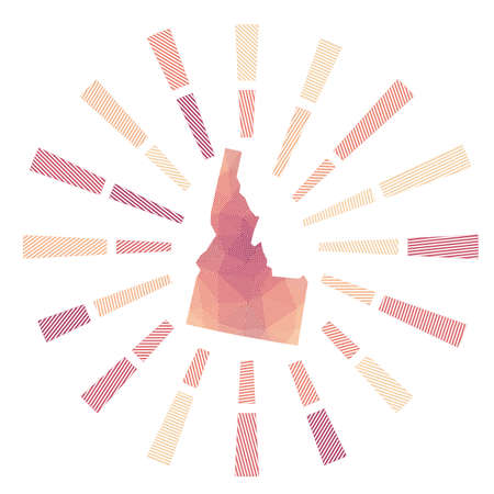 Idaho sunburst. Low poly striped rays and map of the us state. Captivating vector illustration.