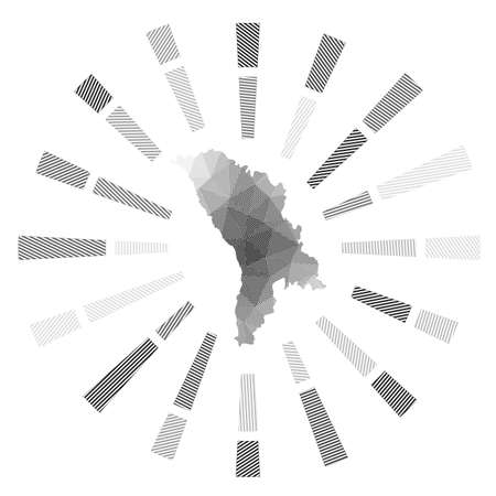 Moldova sunburst. Low poly striped rays and map of the country. Neat vector illustration.