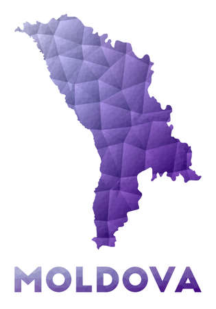 Map of Moldova. Low poly illustration of the country. Purple geometric design. Polygonal vector illustration.