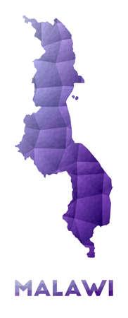 Map of Malawi. Low poly illustration of the country. Purple geometric design. Polygonal vector illustration. Vektorové ilustrace