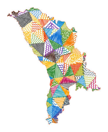 Kid style map of Moldova. Hand drawn polygons in the shape of Moldova. Vector illustration.
