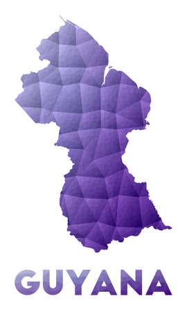 Map of Guyana. Low poly illustration of the country. Purple geometric design. Polygonal vector illustration.