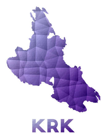 Map of Krk. Low poly illustration of the island. Purple geometric design. Polygonal vector illustration. Vektoros illusztráció