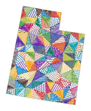 Kid style map of Utah. Hand drawn polygons in the shape of Utah. Vector illustration.