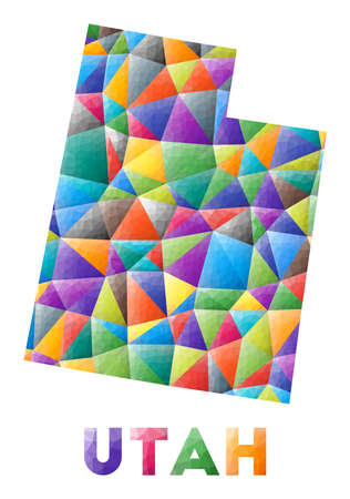 Utah - colorful low poly us state shape. Multicolor geometric triangles. Modern trendy design. Vector illustration. 向量圖像