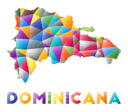 Dominicana - colorful low poly country shape. Multicolor geometric triangles. Modern trendy design. Vector illustration. Vektorgrafik