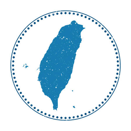 Taiwan sticker. Travel rubber stamp with map of country, vector illustration. Can be used as insignia, logotype, label, sticker or badge of the Taiwan.