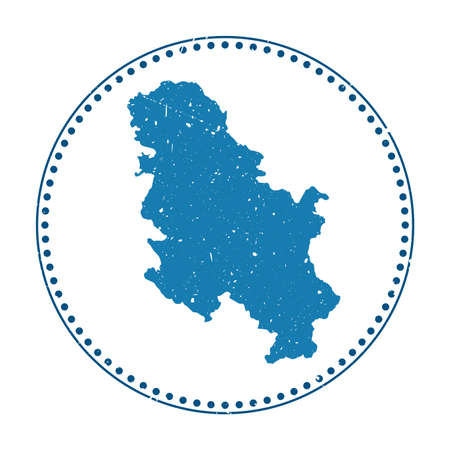 Serbia sticker. Travel rubber stamp with map of country, vector illustration. Can be used as insignia, logotype, label, sticker or badge of the Serbia.