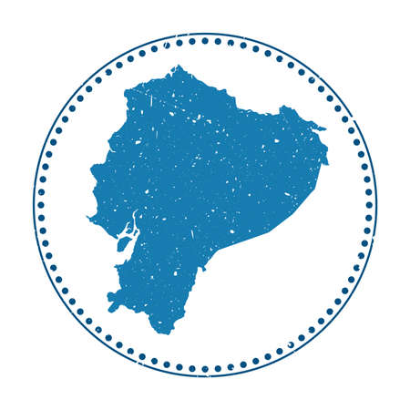 Ecuador sticker. Travel rubber stamp with map of country, vector illustration. Can be used as insignia, logotype, label, sticker or badge of the Ecuador.