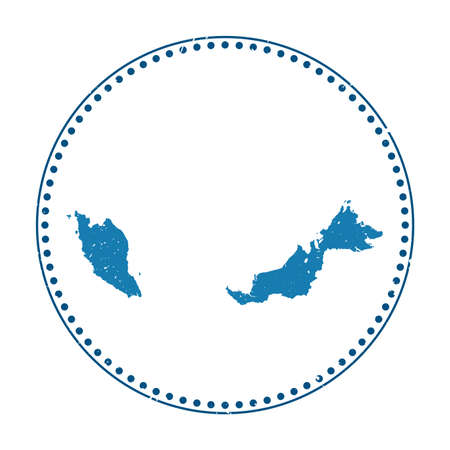 Malaysia sticker. Travel rubber stamp with map of country, vector illustration. Can be used as insignia, logotype, label, sticker or badge of the Malaysia.