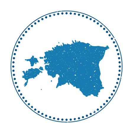 Estonia sticker. Travel rubber stamp with map of country, vector illustration. Can be used as insignia, logotype, label, sticker or badge of the Estonia.