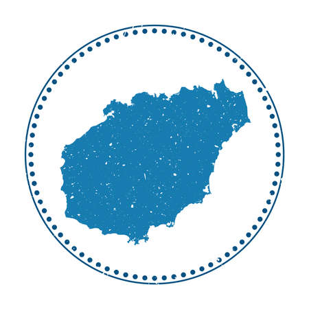 Hainan sticker. Travel rubber stamp with map of island, vector illustration. Can be used as insignia, logotype, label, sticker or badge of the Hainan.