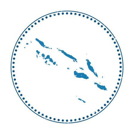 Solomon Islands sticker. Travel rubber stamp with map of country, vector illustration. Can be used as insignia, logotype, label, sticker or badge of the Solomon Islands.