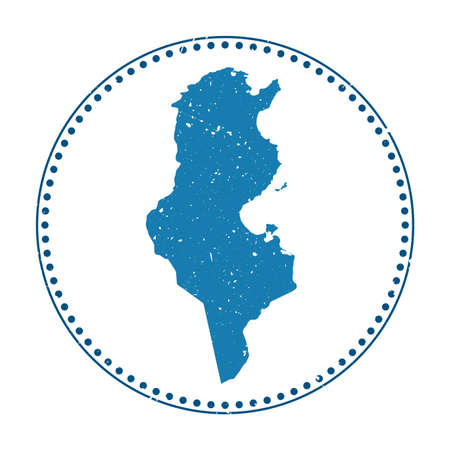 Tunisia sticker. Travel rubber stamp with map of country, vector illustration. Can be used as insignia, logotype, label, sticker or badge of the Tunisia.