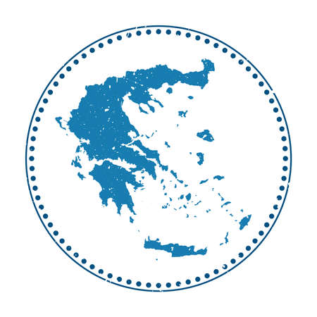 Greece sticker. Travel rubber stamp with map of country, vector illustration. Can be used as insignia, logotype, label, sticker or badge of the Greece. Logos