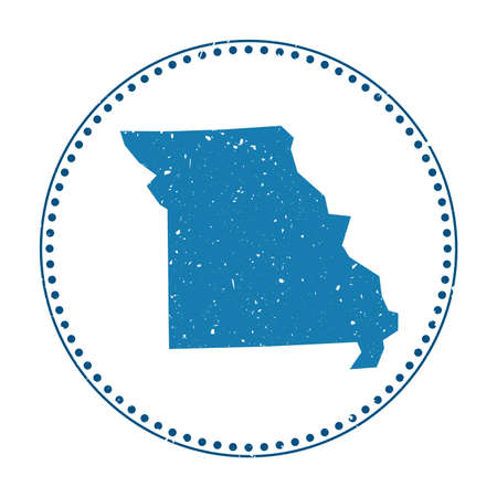 Missouri sticker. Travel rubber stamp with map of us state, vector illustration. Can be used as insignia, logotype, label, sticker or badge of the Missouri. Logos