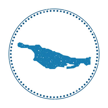 Little San Salvador Island sticker. Travel rubber stamp with map of island, vector illustration. Can be used as insignia, logotype, label, sticker or badge of the Little San Salvador Island.