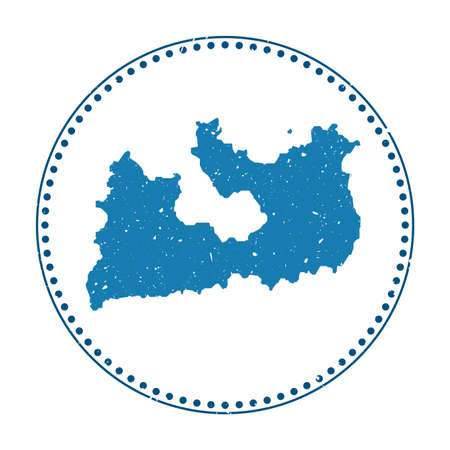 Milos sticker. Travel rubber stamp with map of island, vector illustration. Can be used as insignia, logotype, label, sticker or badge of the Milos.