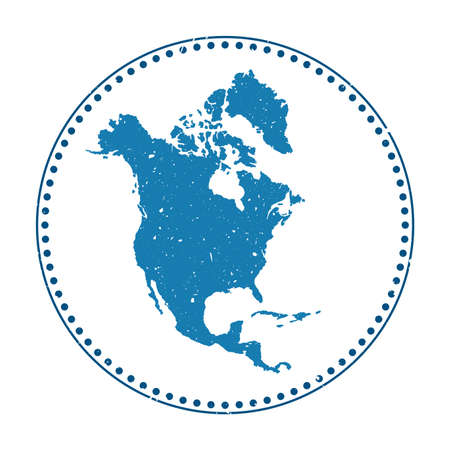 North America sticker. Travel rubber stamp with map of continent, vector illustration. Can be used as insignia, logotype, label, sticker or badge of the North America. Logos