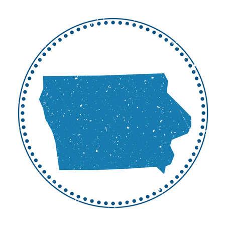 Iowa sticker. Travel rubber stamp with map of us state, vector illustration. Can be used as insignia, logotype, label, sticker or badge of the Iowa.