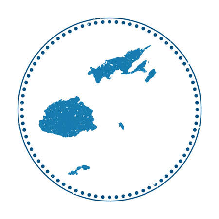 Fiji sticker. Travel rubber stamp with map of country, vector illustration. Can be used as insignia, logotype, label, sticker or badge of the Fiji.