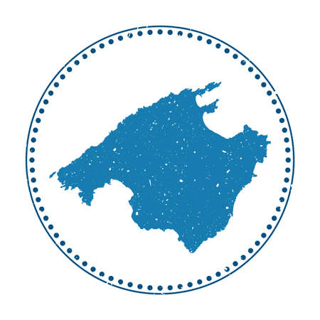 Majorca sticker. Travel rubber stamp with map of island, vector illustration. Can be used as insignia, logotype, label, sticker or badge of the Majorca.