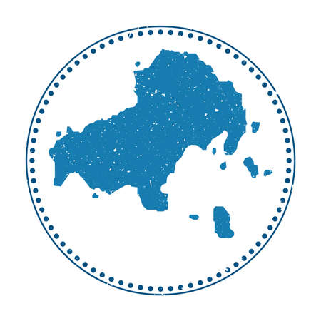 Skiathos sticker. Travel rubber stamp with map of island, vector illustration. Can be used as insignia, logotype, label, sticker or badge of the Skiathos.