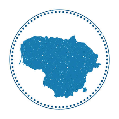 Lithuania sticker. Travel rubber stamp with map of country, vector illustration. Can be used as insignia, logotype, label, sticker or badge of the Lithuania.